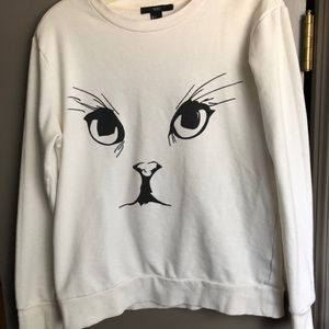 forever 21 off-white cat face sweater